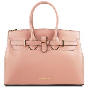 Tuscany Leather TL141548 Elettra - Borsa a mano media in pelle con accessori oro Ballet Pink