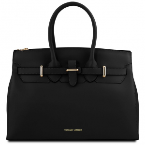 Tuscany Leather TL141548 Elettra - Borsa a mano media in pelle con accessori oro Nero
