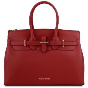 Tuscany Leather TL141548 Elettra - Borsa a mano media in pelle con accessori oro Rosso