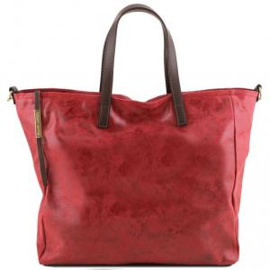 Tuscany Leather TL141552 Annie - Borsa shopping TL SMART in pelle effetto invecchiato Rosso