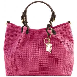 Tuscany Leather TL141568 TL KeyLuck - Borsa shopping TL SMART in pelle stampa intrecciata - Misura Grande Magenta