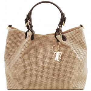 Tuscany Leather TL141568 TL KeyLuck - Borsa shopping TL SMART in pelle stampa intrecciata - Misura Grande Beige