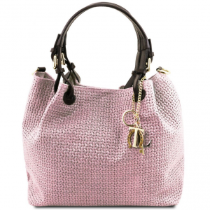 Tuscany Leather TL141573 TL KeyLuck - Borsa shopping in pelle stampa intrecciata Lilla