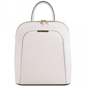 Tuscany Leather TL141631 TL Bag - Zaino donna in pelle Saffiano Bianco