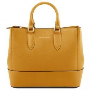 Tuscany Leather TL141638 TL Bag - Borsa a mano in pelle Saffiano Senape