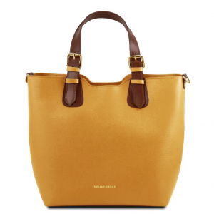 Tuscany Leather TL141696 TL Bag - Borsa shopping in pelle Saffiano Senape