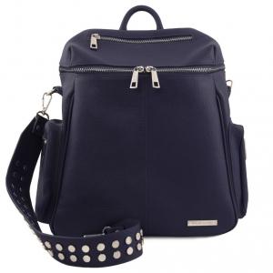 Tuscany Leather TL141747 TL Bag - Zaino donna in pelle morbida Blu scuro