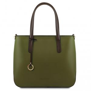 Tuscany Leather TL141791 Penelope - Borsa shopping in pelle Verde Oliva